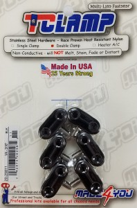 "Made4You 20-25811 Double T-Clamps, 1/4"" - 3/16"" Black (6/cd)"