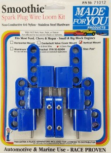 Made4You 50-71012 Vertical Spark Plug Wire Loom Kit, 10.5mm, Blue