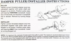 Precision Performance 305, Damper Puller and Installer Kit, Blown Chrysler